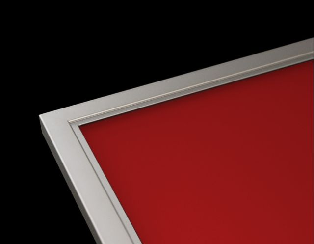 Aluminum Cabinet Door - Style Rocca with Painted Red Glass