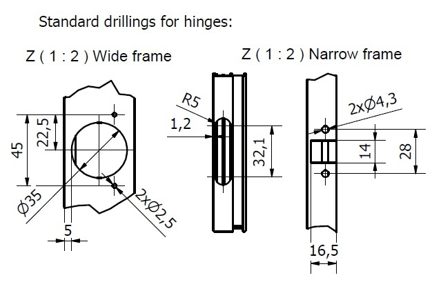 Hinge borings for aluminum doors